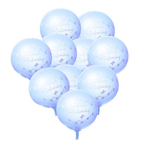 10pcs Juguetes Artículos de Fiestas Colgante Globos Bautizo Decoraciones - Azul