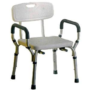 PREMIUM Duschstuhl – abnehmbare Weichschaumarmlehnen und Rückenlehne Badstuhl 5 fach höhenverstellbar