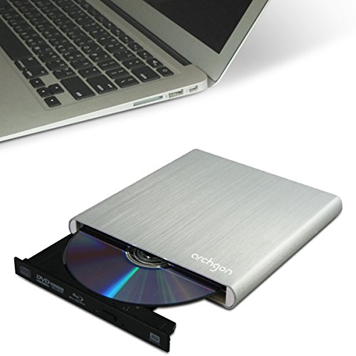Archgon Stream Argento esterno Blu-Ray Masterizzatore DVD CD (Panasonic UJ-260) con USB 3.0 | alluminio spazzolato Caso | compatibile con PC e Mac | MacBook Pro | Aria | iMac in argento