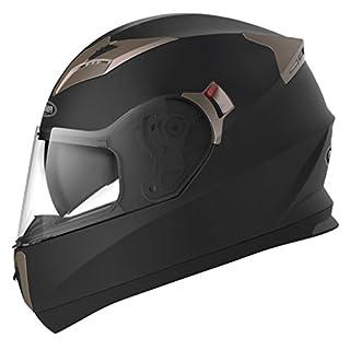 Motorradhelm Integralhelm Rollerhelm Fullface Helm - YEMA YM-829 Sturzhelm ECE mit Doppelvisier Sonnenblende für Damen Herren Erwachsene-Schwarz Matt-M