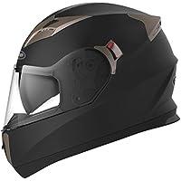YEMA Motorradhelm Integralhelm Rollerhelm Fullface Helm YM-829 Sturzhelm ECE mit Doppelvisier Sonnenblende für Damen Herren Erwachsene-Schwarz Matt-M