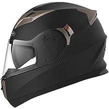 YEMA Casco Moto Integral ECE Homologado YM-829 Casco de Moto Scooter para Mujer Hombre Adultos con Doble Visera -Negro Mate-L