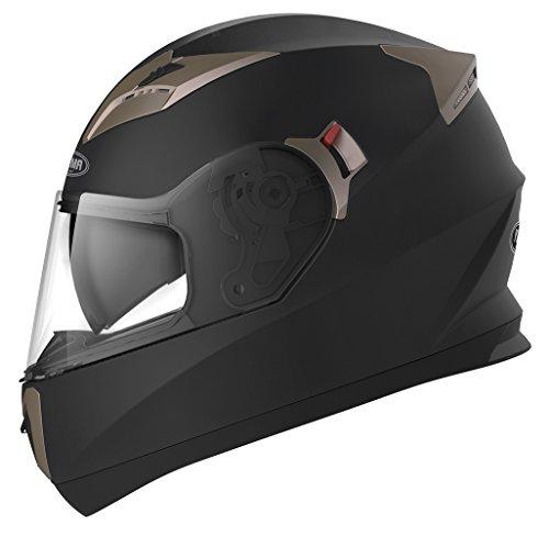Motorradhelm Integralhelm Rollerhelm Fullface Helm - YEMA YM-829 Sturzhelm ECE mit Doppelvisier Sonnenblende für Damen Herren Erwachsene-Schwarz Matt-L