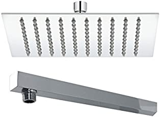 """Kitsch Ultra Thin Ss Square 200mm (8""""X8"""") Rain Shower With 375mm (15"""") Long Ss Square Showerarm Combo"""
