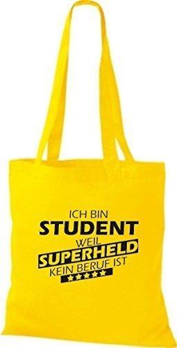 Shirtstown Stoffbeutel Ich bin Student, weil Superheld kein Beruf ist gelb