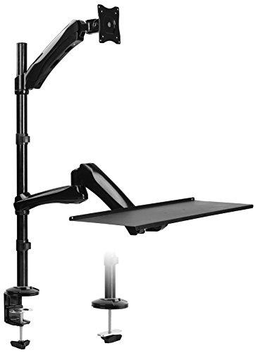 RICOO Universal Sitz Steh Monitor Halterung TS1211 Ergonomie Gas Schwenkbar Neigbar Computer Bildschirm Monitorhalterung Tischhalterung LCD Curved 4K VESA 75x75 100x100 33-69cm 13
