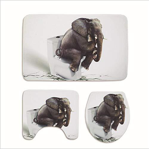 KUDIAN Matte Set 3 Stück 3D Elefant Muster Rutschfest Flanell Bad Teppich