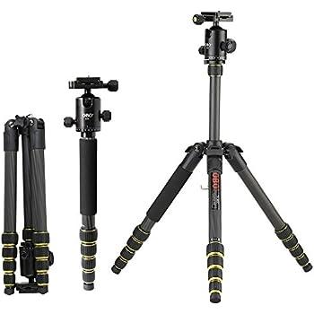 Andoer® OBO Pieghevole Portatile Allungabile in Fbra di Carbonio DSLR Camera Tripod Unipod Monopiede con Testa a Sfera per Canon 760D 7D2 70D 5D2 Nikon D750 D7200 D5500 D810 D610 Sony A7 A7S A7R A7RII