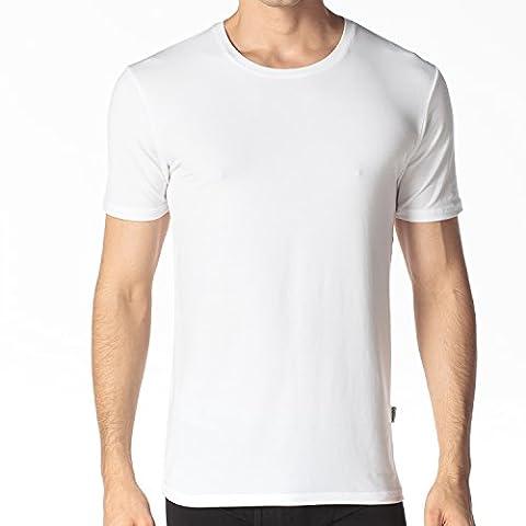 Lapasa Men's 2 Pack Undershirts - PURE SOFTNESS - Micro Modal Crew-Neck T-Shirt Tagless Vest (XL, Grey)