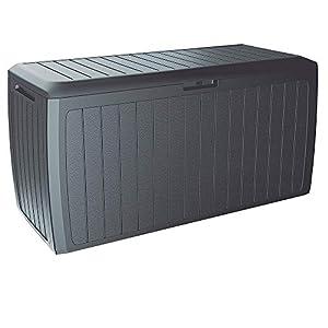 Deuba Auflagenbox Board Plus Rollen Griffe 100 kg belastbar Smart Click System Truhe Gartenbox Kissenbox Anthrazit