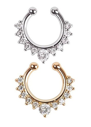 Sorella'Z Multicolor Crystal Septum Nose Ring Combo For Women