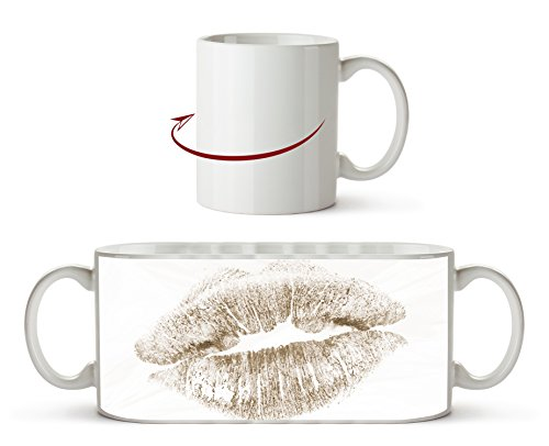 Roter Lippenstift Abdruck Effekt: Sepia als Motivetasse 300ml, aus Keramik weiß, wunderbar als...