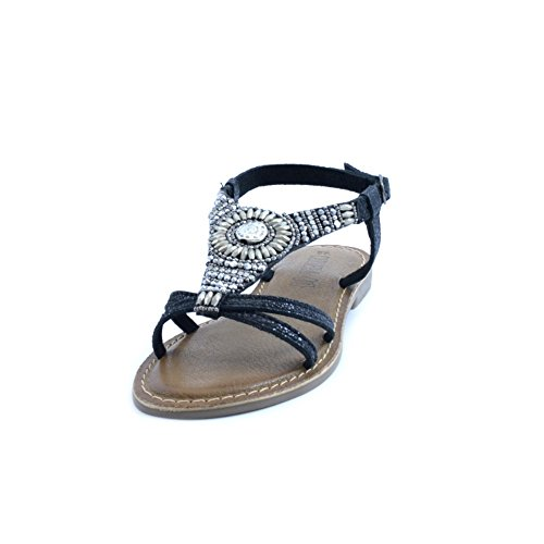 XTI Damen Black Metallic Ladies Sandals Offene Schwarz (Black)