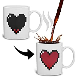 Incutex taza mágica calor cambio taza sensitiva al calor – Corazón
