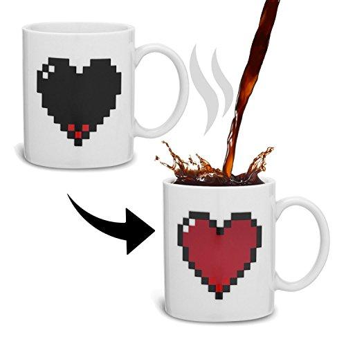 Taza mágica calor CORAZÓN pixelado