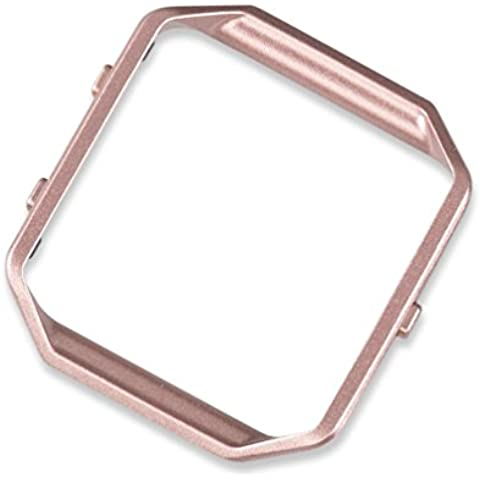 wearlizer Fitbit Blaze Marco, para acero inoxidable de marco de metal, color - Pink Gold