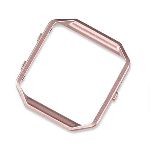 wearlizer Fitbit Blaze Cadre en acier inoxydable cadre en métal de rechange Pink Gold