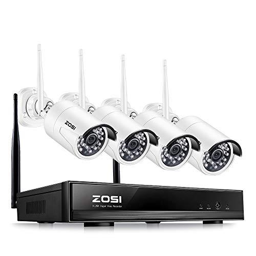 ZOSI 4CH 1080P Außen Funk Überwachungssystem HDMI NVR mit 4 Full HD 2.0 Megapixel Drahtlos Überwachungskamera Set Wireless CCTV System ohne Festplatte, 20M IR Nachtsicht (Wd Nas-hd)
