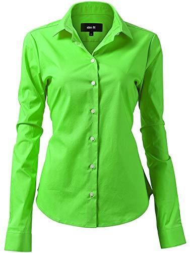HARRMS Damen Bluse Basic Hemd Workwear Slim Fit Langarm Baumwolle Einfarbig Plain Für Anzug Business Arbeit mit Brusttasche Bügelleicht/Bügelfrei - Hell Grün - 44 (Hersteller  18)