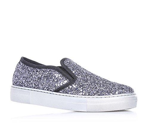 FLORENS - Slip-on argentata in glitter, con inserti laterali elasticizzati, cuciture a vista e suola in gomma, Bambina, Ragazza, Donna-30