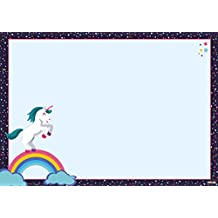 Schreibtischunterlage Einhorn 25 Blatt abreißen DIN A3 groß Jungs Mädchen Kinder Papier Wochenplan ausmalen Pferd Emoji Büro Schreibunterlage Unicorn l'unicorno unicornio licorne Deko ohne Spruch