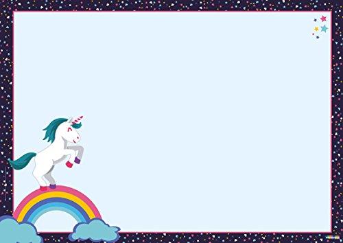 Schreibtischunterlage Einhorn 25 Blatt abreißen DIN A3 groß Kinder Papier ausmalen Emoji Schreibunterlage Unicorn l'unicorno unicornio (Affe Kinder Regenbogen Socke Kostüme)