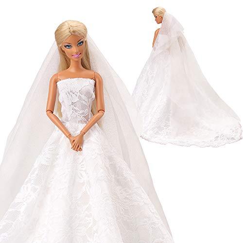pitze Zug Kleidung Kleider Brautkleid Ballkleid mit Brautschleier Hochzeitskleid für Barbie Puppen ()