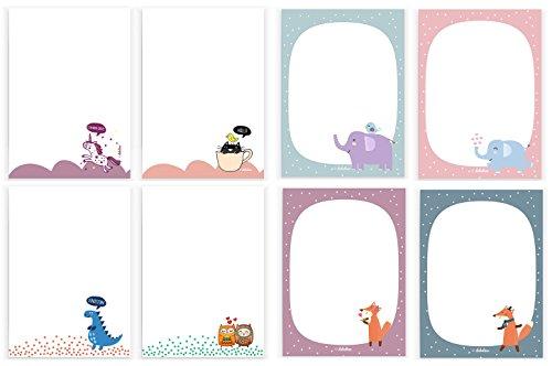 löcke für Kinder A6, 25 Blatt: Einhorn, Eulen, Dino, Katze, Elefanten und Füchse (Mädchen od. Jungen) (Mädchen Osterkörbchen)