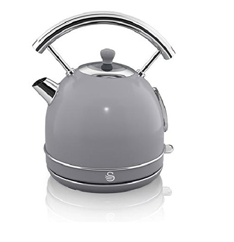 NEW Swan Kitchen Appliance Retro Set – GREY 1.7 Litre Dome Kettle & GREY Retro Stylish 4 Slice Toaster Set