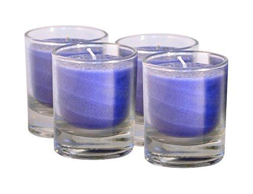 Palm Light 4041678002176 Nuance Kerze 4-er Set, Palmwachs-Kerze, 6 cm, Brenndauer circa 15 Stunden, blau