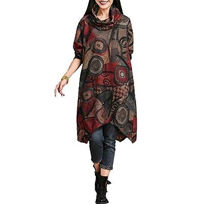 QBQ Women's Turtle Neck Fall Winter Printed Long Sleeve Vintage Jersey Irregular Jumper Dress