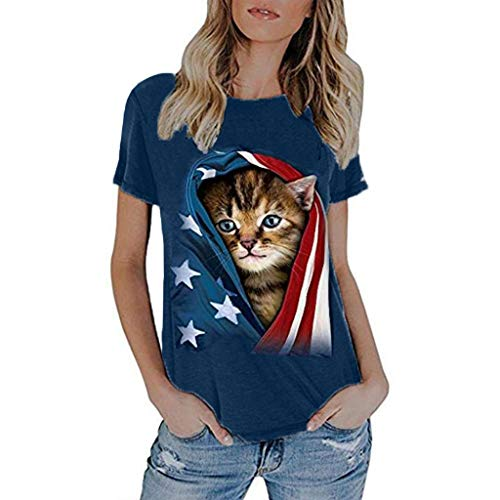Cooljun 4. Juli Shirts Damen modische lose amerikanische Flagge Kurzarm bedrucktes T-Shirt Top Bluse -