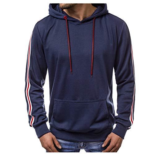 DNOQN Winter Pullover Herren Sweatshirt Beiläufige Lange Hülsen Patchwork Hoodie mit Kapuze Sweatshirt Oberseiten T-Stück Outwear Bluse Marine XXL