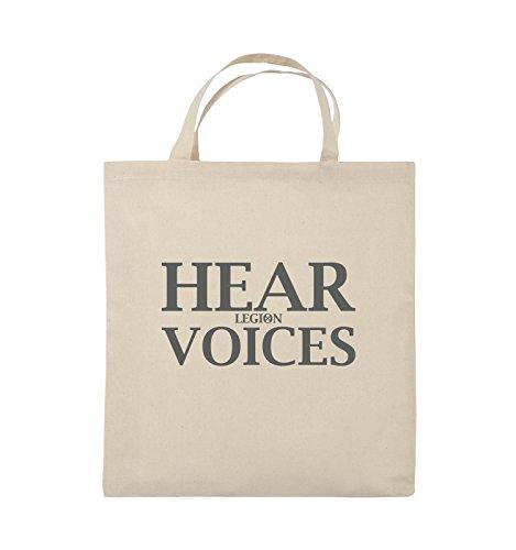Comedy Bags - HEAR VOICES - LEGION - Jutebeutel - kurze Henkel - 38x42cm - Farbe: Schwarz / Pink Natural / Grau