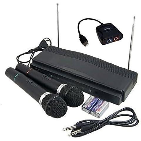 KARAOKE SET: 2x Kabellose Mikrofone + Empfänger + Singstar-Adapter (für Wii, PS2, PS3, XBOX 360, PC)