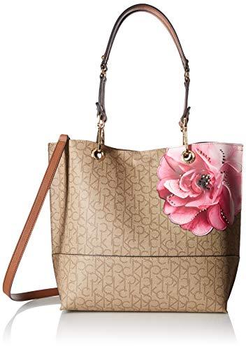 Calvin Klein Damen Sonoma Signature North/South Tote Tragetasche, Textured Khaki/Brown/Luggage Floral, Einheitsgröße Calvin Klein Khaki