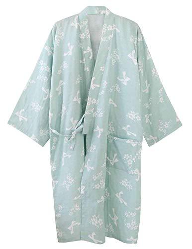 Huixin Damen Männer Dchen Sommer Aus Kimono Elegant Baum Roben Floral Pyjamas Nacht Wärmen Khan Yukata Bademantel (Color : Bohne Grün, Size : One ()
