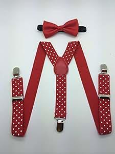 Boys Girls Child Bow Tie Suspender (RED BOW)