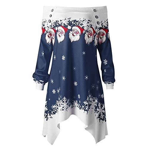 SEWORLD Frohe Weihnachten Weihnachtsmann Kapuzenpulli Damen Langarm Warmer Santa Snowflake Gedruckt Tops Schulterfrei Asymmetrisches Sweatshirt(X2-h-blau,EU-42/CN-2XL)