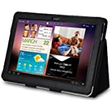 SAMSUNG GALAXY TAB 10.1 P7510 PU LEATHER FLIP CASE / COVER / POUCH / HOLSTER - BLACK (TAB 2) PART OF THE QUBITS ACCESSORIES RANGE