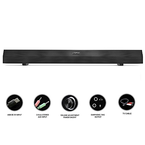 lonpoo 23.6 inch Sound Bar Speaker, 10 W Metal girll USB Power Enceinte pour le ménage TV Bar Theatre Dance Party