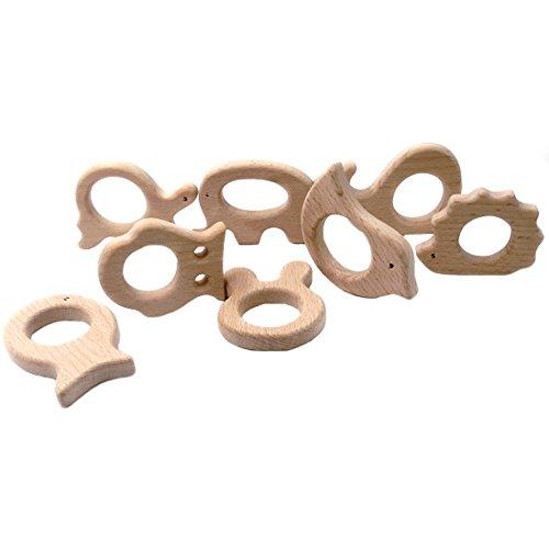 Coskiss Pendenti in legno di faggio massiccio fascino Ecologico monili di fascino Fare accessori Handcrafted kit fai da te (colore di legno 16pcs)