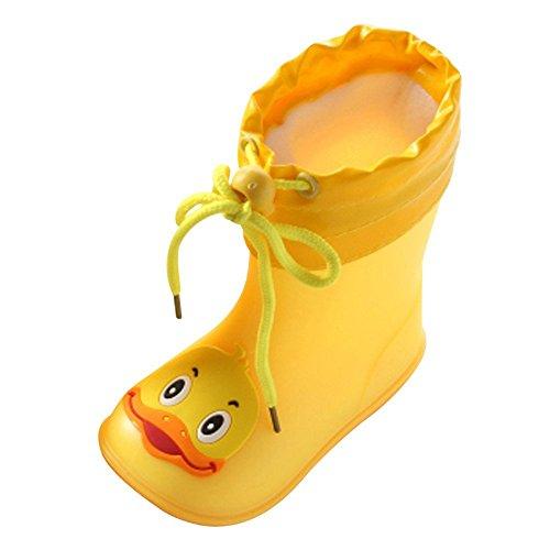 Cooljun Säugling Baby Tier Regenstiefel Kinderstiefel Rain Boot Gummistiefel Kinderschuhe Kleinkinder Wasserdicht Gummistiefeletten (22, Ente (Gelb)) - Groß Fringe Boot