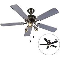 Qazqa Ventilateur de Plafond avec lumiere | Lampe de Ventilateur Moderne - Mistral Lampe Noir Gris - GU10 - Convient…