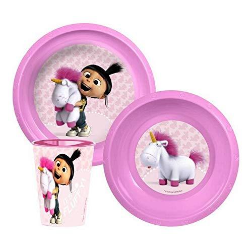 GUIZMAX Set Dejeuner Les Minions Assiette Verre Repas Enfant Disney Rose