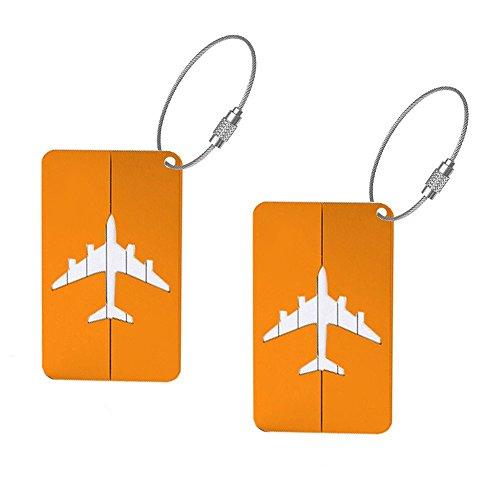 Spaufu 2X Kofferanhänger Gepäckanhänger Stilvolle Metall Koffer-Tags Gepäck Etiketten Koffer ID Tags Etiketten Luggage Tag für Gepäck Rucksack Reisen Zubehör Gelb