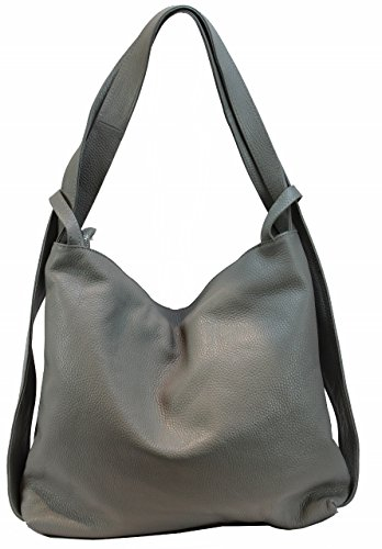 BZNA Bag Mia Grau hellgrau Backpacker Designer Rucksack Ledertasche Damenhandtasche Schultertasche Leder Italy Neu
