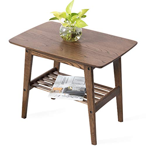 side table Wooden 2-tier Corner Table End Table Modern Sofa Side Table Living Room Coffee Table Tea Table in Walnut Color