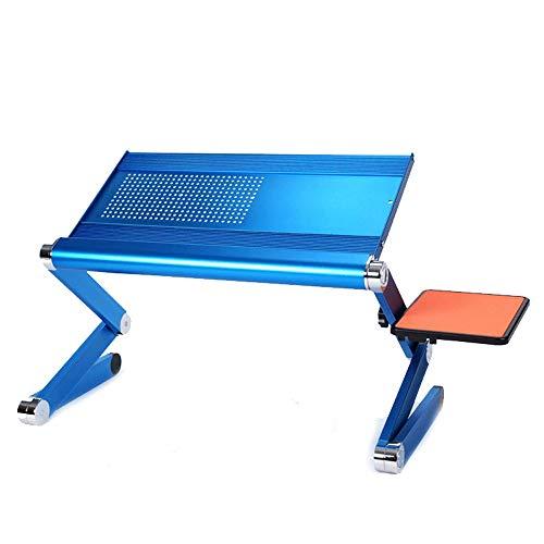 Chengzuoqing Bett Klapptisch Aluminium Laptop Schreibtisch/Ständer Tragbar Verstellbar Extra Large Mouse Pad Seitenhalterung Blau (Farbe : Blau, Größe : 50 * 24.5 * 53.3cm)