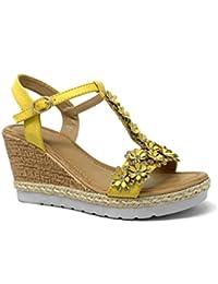 259e9f8948 Angkorly - Chaussure Mode Sandale Mule Plateforme Ouvert Romantique Femme  Fleurs Perle Strass Diamant Talon compensé